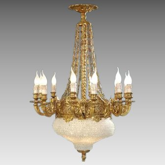 Louis XVI Chandelier Crystal and Gilded Bronze