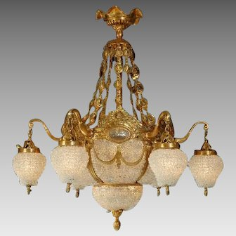 Chandelier with Gilded Bronze and Crystals
