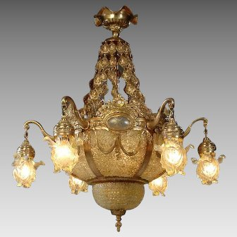 Crystal and Gilded Bronze Louis XVI Chandelier