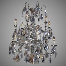 Crystal and Silver Chandelier Louis XVI Style
