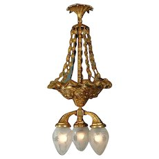 Gilded Bronze Chandelier with Glass