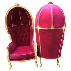 Pair of 2 French Louis XVI Balloon Chairs in Velvet