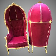 Pair of 2 French Louis XVI Balloon Chairs in Velvet; FREE SHIPPING within USA