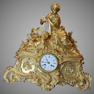 Antique French Bronze Table Clock - Free Worldwide Shipping