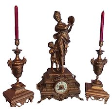 Antique French Table Clock with Candelabras - Free Worldwide Shipping