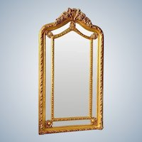 French Floor Mirror, Louis XVI in Gold Leaf