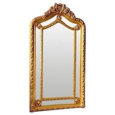 French Floor Mirror, Louis XVI in Gold Leaf
