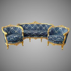 French Louis XVI Living Room Set (Sofa and Two Chairs)