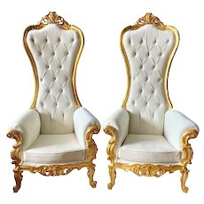 Two Baroque Throne Chairs
