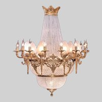 French Louis XVI Chandelier Gilded Bronze and Crystal