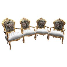 Set of Louis XVI Chairs (4) with Gobelin