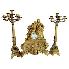Big Model French Table Clock, Louis XVI with Two Candelabras