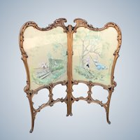 Antique Room Divider, Hanpainted and Signed by A. Buccini