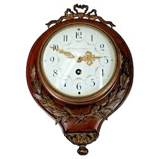 Wooden French Wall Clock Louis XVI