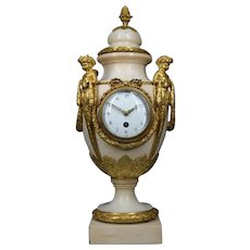 Antique French Bronze Marble Urn Clock 1860