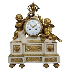 Antique Table/Mantel Clock Bronze with Marble
