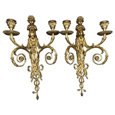 French Louis XVI Antique Bronze Sconces (Abliques, Wall Candelabras) From 1860. -A Pair