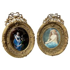 A pair of antique French miniatures in gild Bronze. Edouard Bisson (1856-1939)