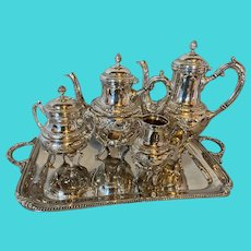 Antique silver plated tea set from 19th century.
