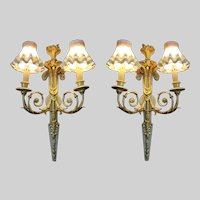 French Louis XVI Antique (1860) Bronze Sconces (Abliques/Wall Lamps) - FREE SHIPPING