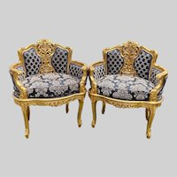 Antique French Louis XVI Style Corbeille Chairs - a Pair