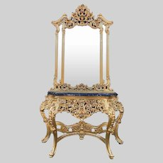 Antique console with mirror from about 1900