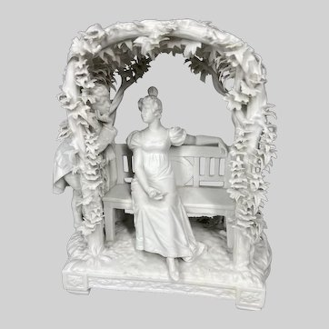 Antique French biscuit porcelain figurine 19th century. Worldwide free shipping