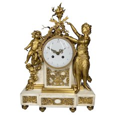 Antique French Louis XVI Gilded Bronze Mantel Clock/ Pendulum 1780