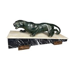 Art Deco French Jaguar sculpture. Worldwide free shipping