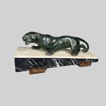 Art Deco French Jaguar sculpture. Worldwide free shipping