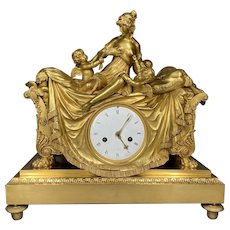 Beautiful Antique French Empire Clock Gilded Bronze 1810