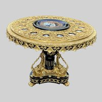 Beautiful French Center Table Louis XVI-- Bronze and Porcelain. Free Worldwide Shipping