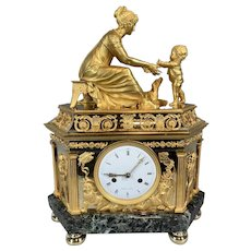 French Empire Antique Bronze Table/Mantle Clock from 1810. Free shipping