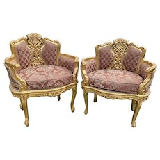 A pair of two Antique French Louis XVI Style Corbeille Chairs. Worldwide shipping