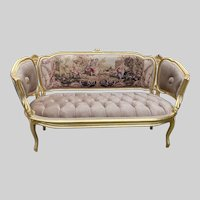Antique handmade sofa/settee/couch in French Louis XVI style. Worldwide shipping