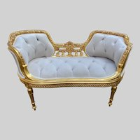 French Louis XVI Style Small Settee/Bench/ Small Sofa With Velvet
