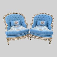 French Louis XVI Hand Carved Solid Wooden Pair of Chairs