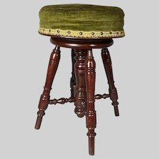 Antique French Solid Walnut Wooden (Piano) Bar Stool With Velvet - Free Worldwide Shipping