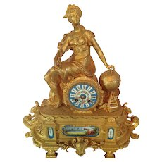 Antique French table clock with Sevres porcelain-about 1880- Free Shipping