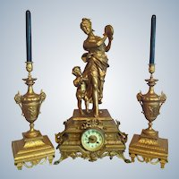 Antique French style table clock with two candelabras-FREE SHIPPING-