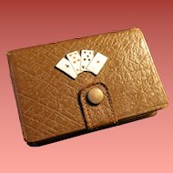 Leather Playing Card Case with Enameled Card Decoration  Early 1900's