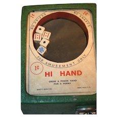 """Hi Hand"" Counter Top Dice Game Trade Stimulator 1950's"