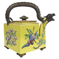 19th Century Imperial Yellow Royal Worcester Porcelain  Aesthetic Movement Dragon Teapot c.1875 Designed by James Hadley