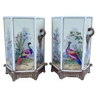 Rare Pair of 19th Century Royal Worcester Hexagonal Porcelain Twin Handled Chinoiserie Bird Vases c.1875
