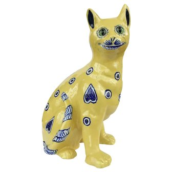 Mosanic Faience Figure of a Cat c.1900 Galle Style
