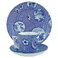 19th Century Porcelain English  Aesthetic Movement Blue & White Cup & Saucer, Side Plate, Trio, c.1880 Probably Brownfield.