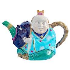 Minton Majolica Chinaman Teapot & Cover c.1875