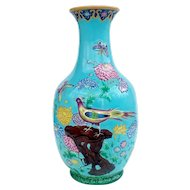 Large 19th century Minton Majolica 'Indian' Vase c.1876 Turquoise Chinoserie