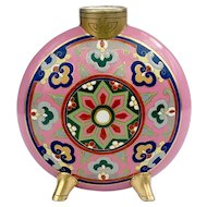 19th Century Minton Porcelain Aesthetic Movement Pilgrim Flask c.1875 Designed by Christopher Dresser