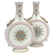 Excellent Pair of 19 Century Grainger Worcester Jewelled Parian Vases c.1870